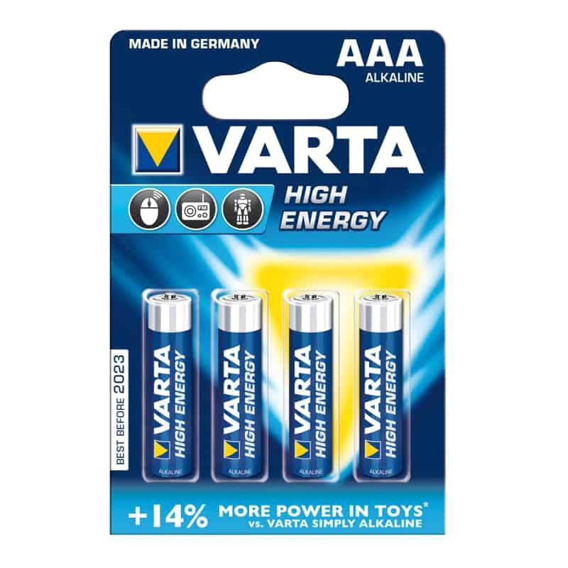 Baterii alcaline Varta AAA, 4 piese