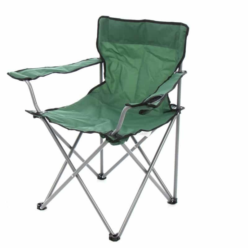 Scaun camping pliabil, suport pahar, husa transport, verde