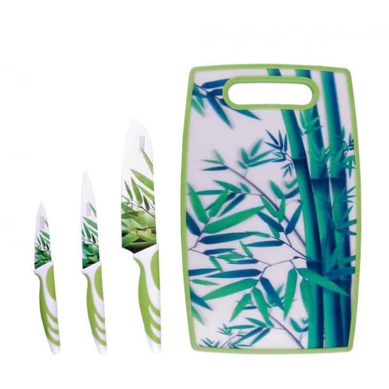 Set cutite colorate inox Peterhof PH-22387, tocator, 4 piese, verde