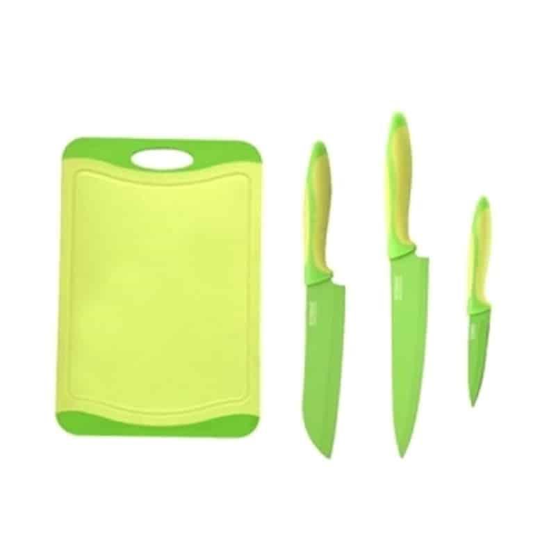 Set cutite inox Peterhof PH-22329, tocator plastic, 4 piese, verde