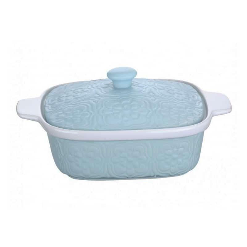 Cratita ceramica capac Peterhof PH-10071 A, 1.5 litri, capac, albastru