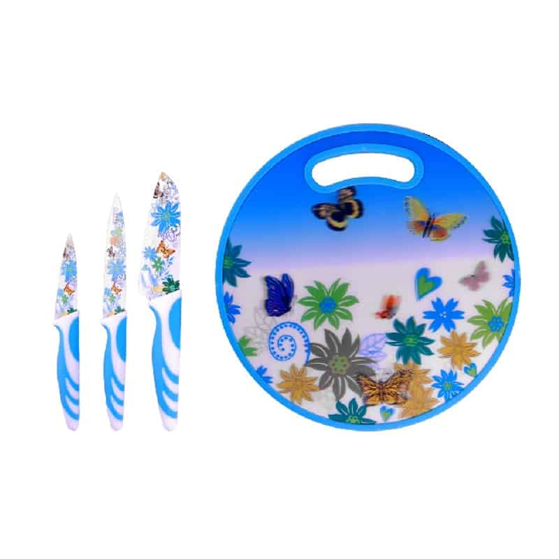 Set cutite inox Peterhof PH-22390, 4 piese, albastru