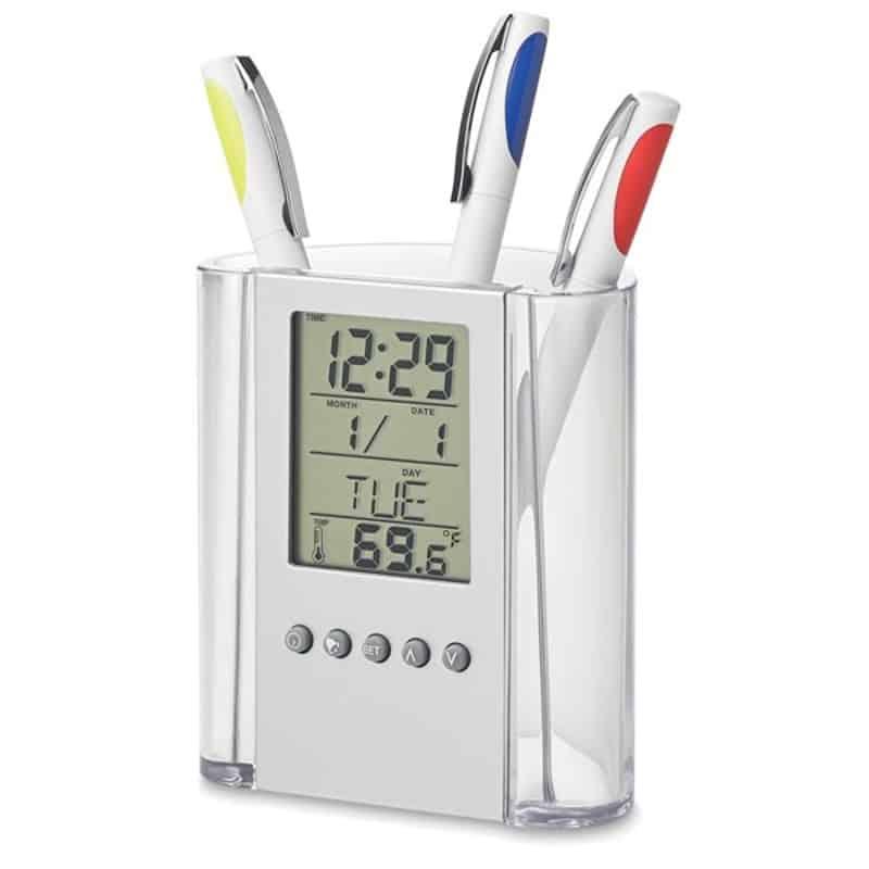 Suport pixuri pentru birou cu ceas, termometru, calendar