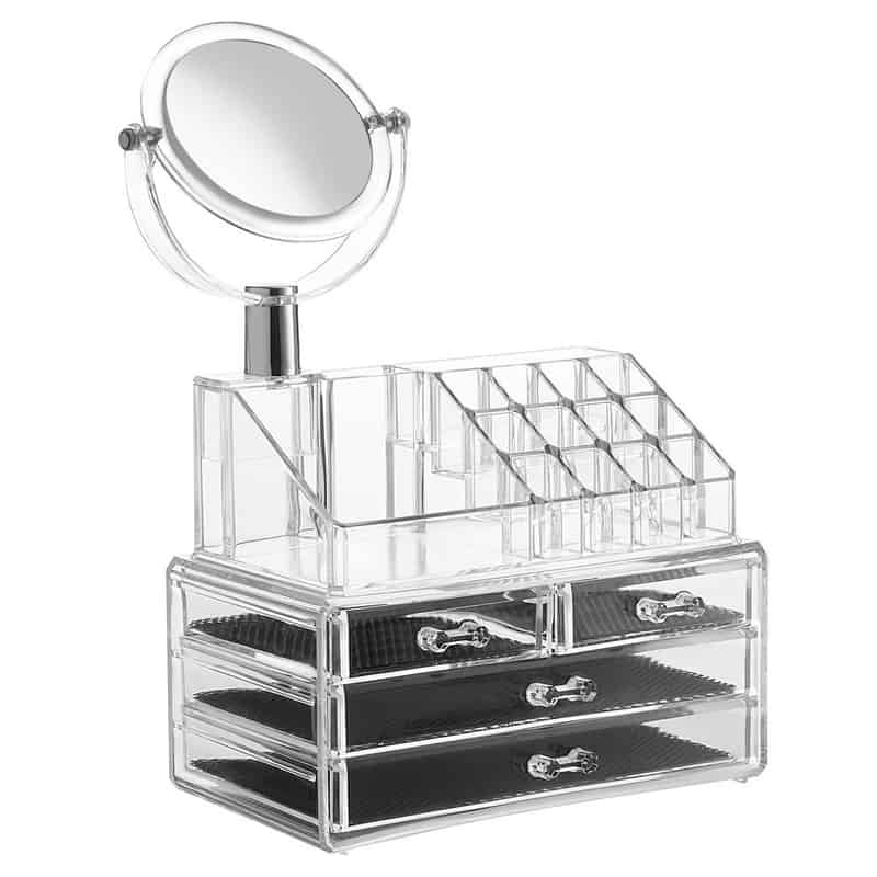 Organizator cosmetice cu oglinda, 4 sertare, 24 x 14 cm