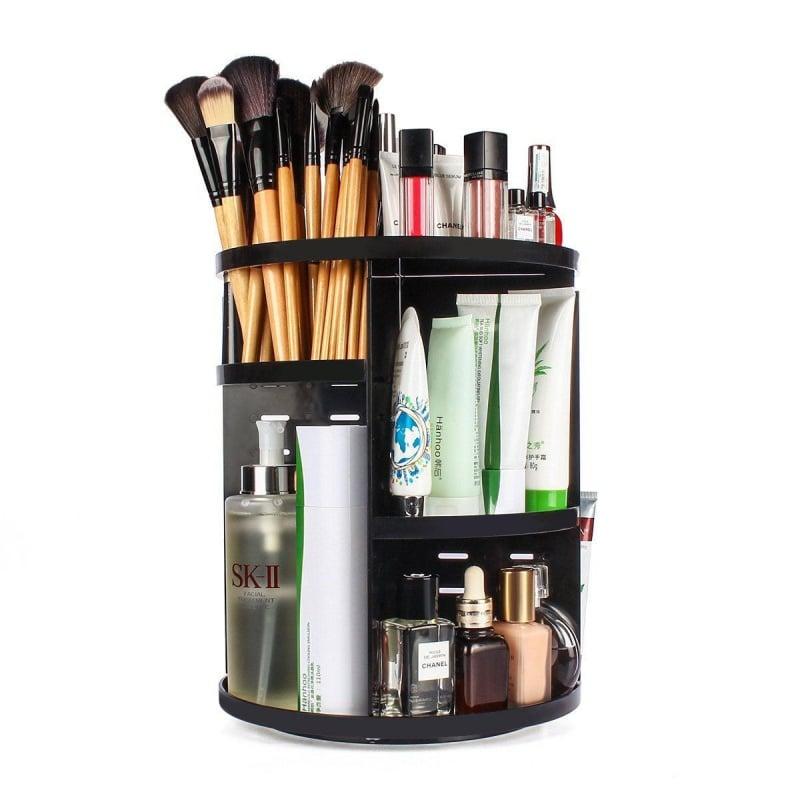 Organizator pentru cosmetice, rotire 360 grade, negru 2