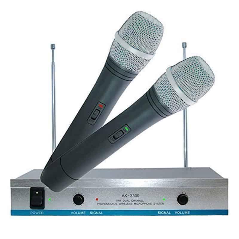 Set 2 microfoane wireless karaoke AK-3300, receiver