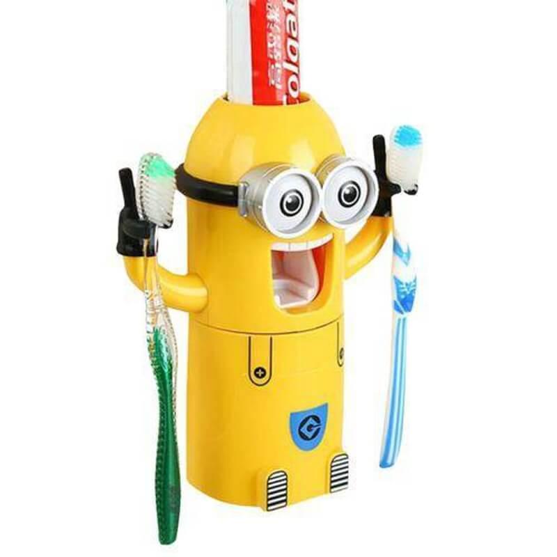 Dozator-pasta-de-dinti-cu-suport-pentru-2-periute-model-Minions