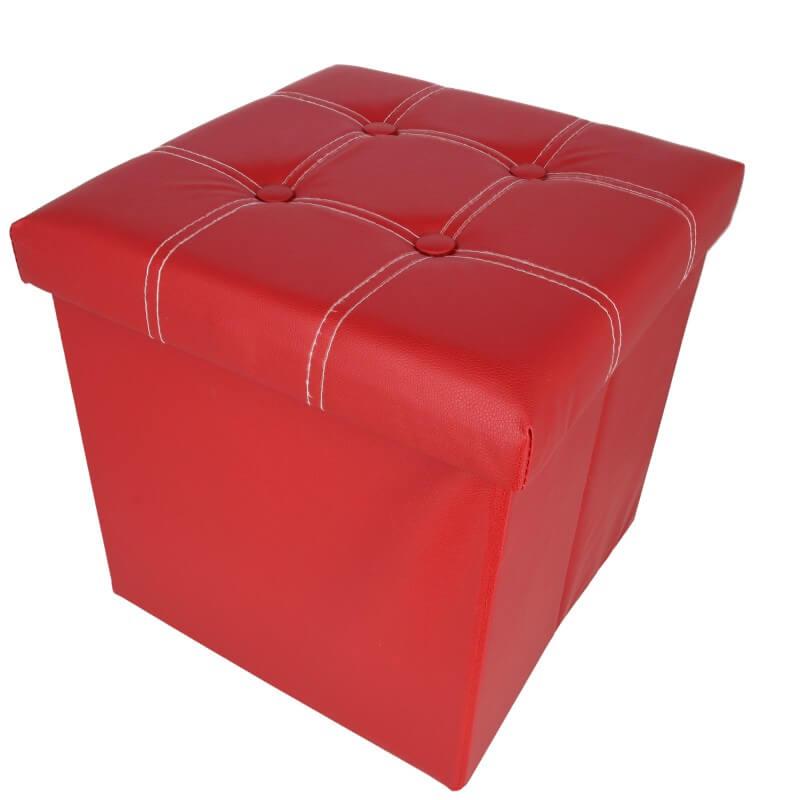 Taburet pliabil cu spatiu de depozitare Grunberg TB54, rosu, 38x38x38 cm