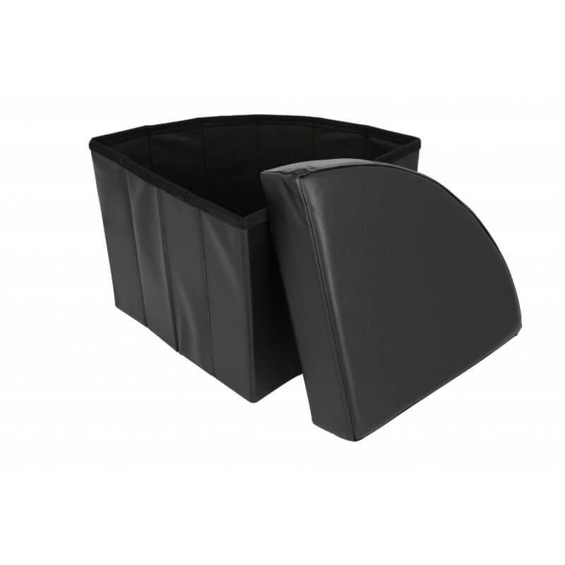 Taburet pliabil cu spatiu de depozitare Grunberg TB78, negru, 37x37x38 cm