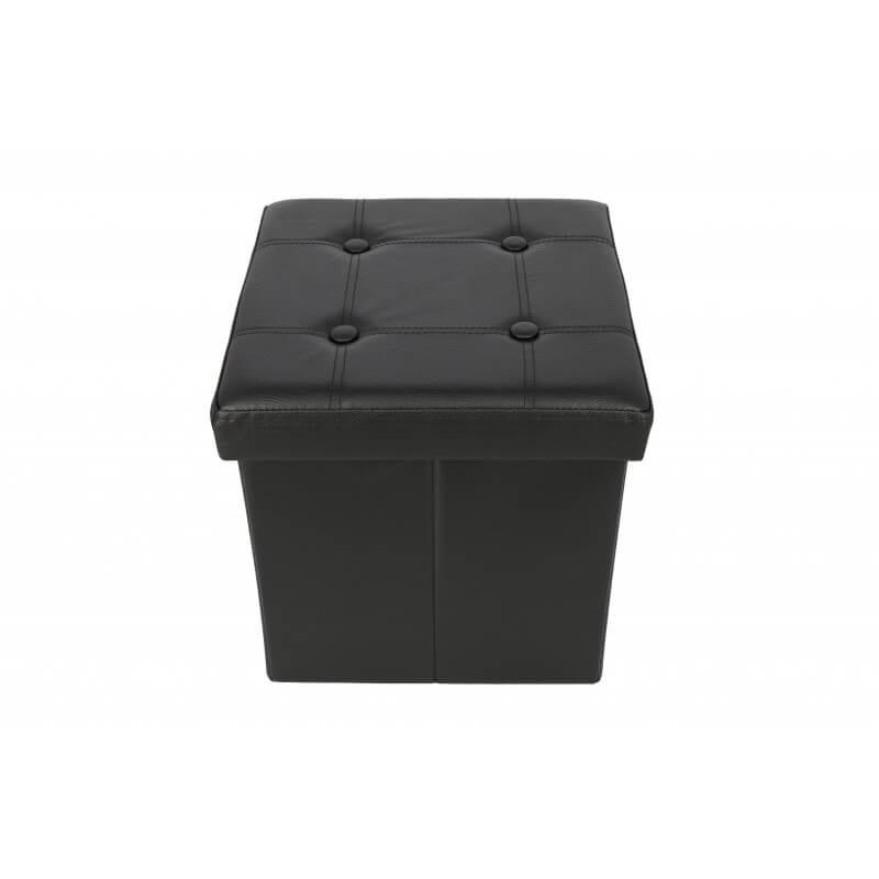 Taburet pliabil cu spatiu de depozitare si capac reversibil Grunberg TB75, negru, 38x38x38 cm