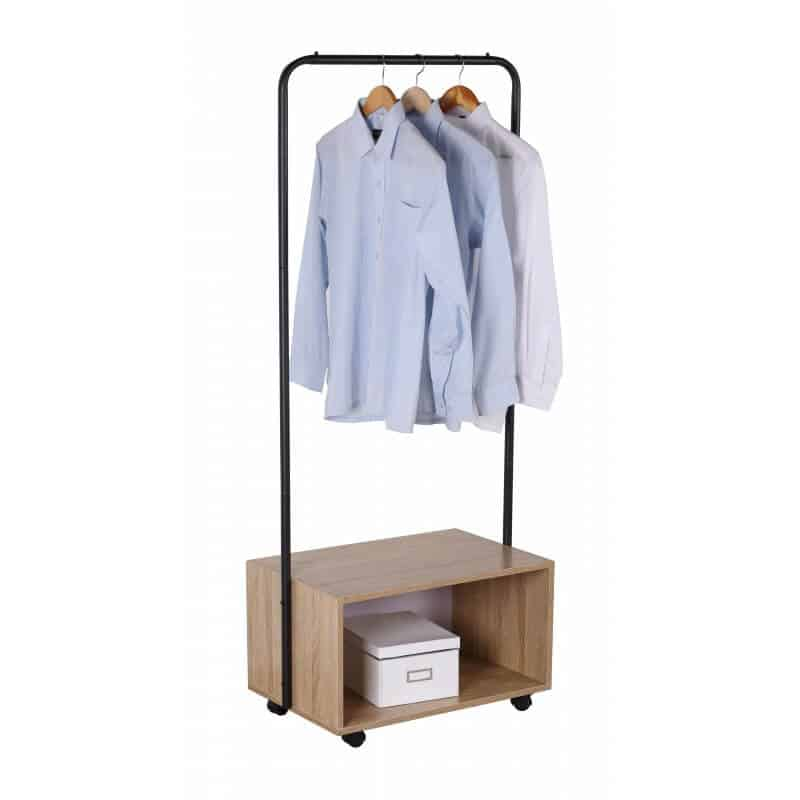 Suport pentru haine Grunberg RF3103, din metal si PAL, mobil, 64.50 x 40 x 152 cm