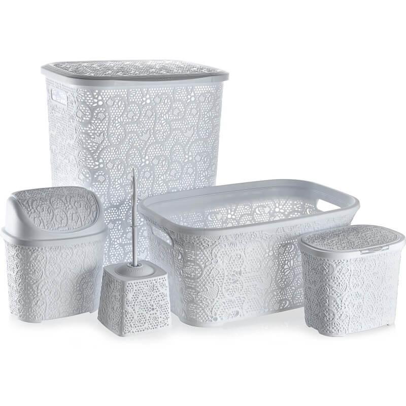 Set pentru baie Tuffex TP8003, plastic, 5 piese, alb
