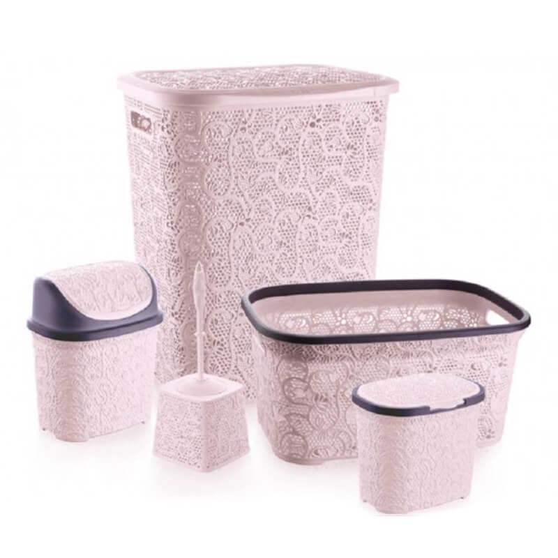 Set pentru baie Tuffex TP8003, plastic, 5 piese, roz